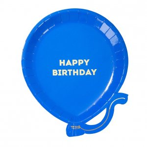 Balloon Shaped Small Paper Plates with Gold Foiled Happy Birthday 12/pcs