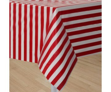 Big Stripes red & white plastic tablecover