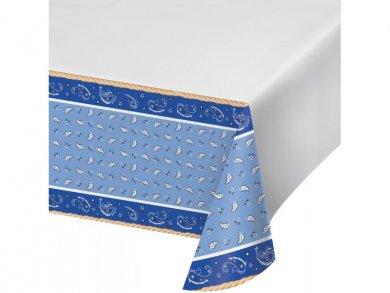 Blue Bandana Cowboy plastic tablecover