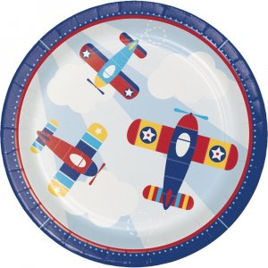 Multicolor Airplane Large Paper Plates (8pcs)