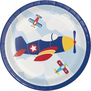 Multicolor Airplane Small Paper Plates (8pcs)