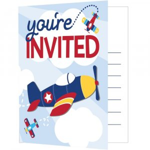 Multicolor Airplane Party Invitations (8pcs)