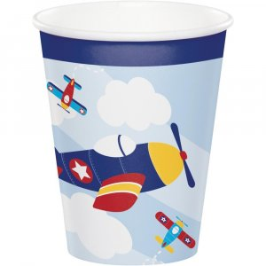 Multicolor Airplane Paper Cups (8pcs)