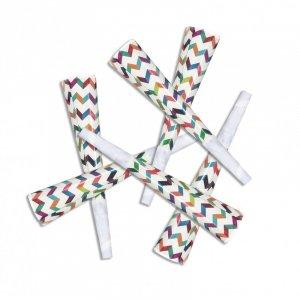 Multicolor Chevron Party Horns 6/pcs