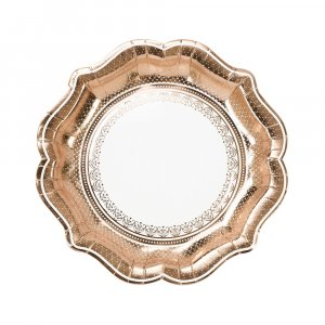 Porcelain Rose Gold Large Paper Plates 12/pcs