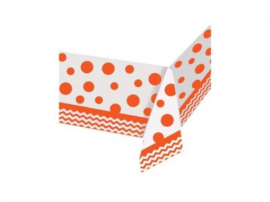 Orange plastic tablecover Dots & Chevron