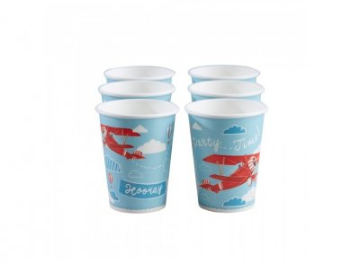 Vintage Airplane Paper Cups (8pcs)
