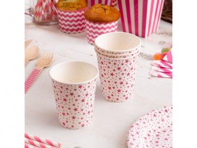 Fuchsia Stars Paper Cups (8pcs)