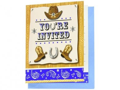 Blue Bandana Cowboy party invitations 8/pcs