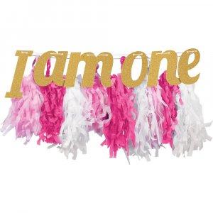 Pink tassel garland I am One