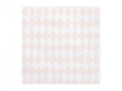 Ροζ & Άσπροι Ρόμβοι Χαρτοπετσέτες 20τμχ
