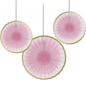 Pink Decorative Paper Fans with Gold Detail 3/pcs