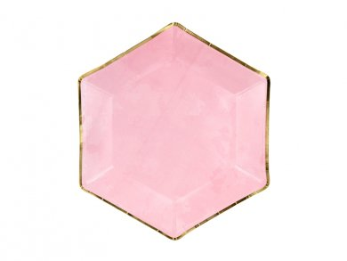 Pink Hexagonal Paper Plates with Gold Edge (6pcs)