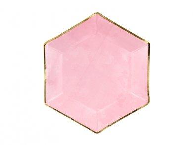 Ροζ Εξάγωνα Χάρτινα Πιάτα Με Χρυσή Μπορντούρα (6τμχ)
