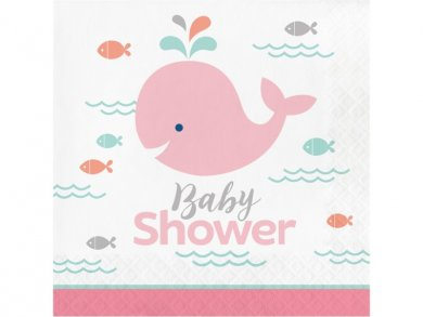 Pink Little Whale Napkins for Baby Shower (16pcs)