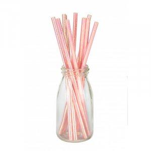 Pink Iridescent Paper Straws 10/pcs