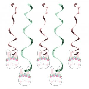 Pink Bunny Hanging Swirl Decoration 5/pcs