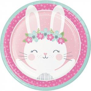 Ροζ Κουνελάκι Μεγάλα Χάρτινα Πιάτα (8τμχ)