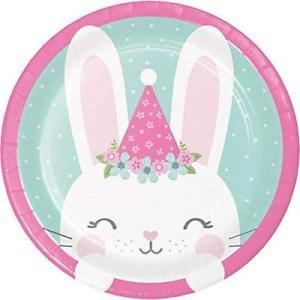 Pink Bunny Small Paper Plates (8pcs)