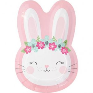 Pink Bunny Small Shaped Paper Plates (8pcs)