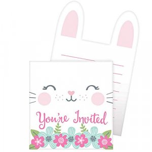 Pink Bunny Party Invitations (8pcs)