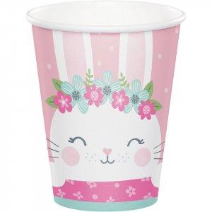 Ροζ Κουνελάκι Ποτήρια Χάρτινα (8τμχ)