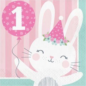 Pink Bunny First Birthday Luncheon Napkins 16/pcs