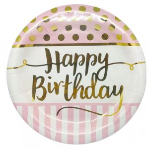 Pink Large Paper Plates with Gold Happy Birthday 8/pcs