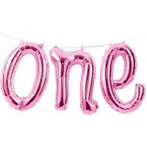 Pink ONE foil balloon garland