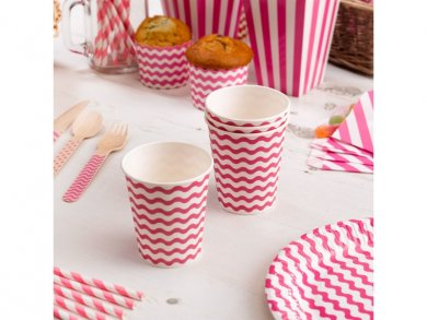 Fuchsia Waves Paper Cups (8pcs)
