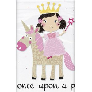 Pink Princess & Unicorn Plastic Tablecover
