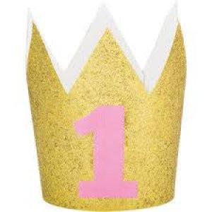 Χρυσό Καπελάκι Κορώνα Με Γκλίτερ Για Ροζ Πρώτα Γενέθλια