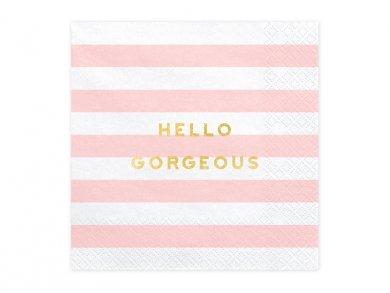 Ροζ Ριγέ Χαρτοπετσέτες Hello Gorgeous 20τμχ