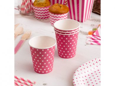 Fuchsia Paper Cups with White Dots (8pcs)