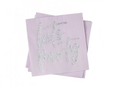 Pink Luncheon Napkins with Holographic Lets Party (16pcs)