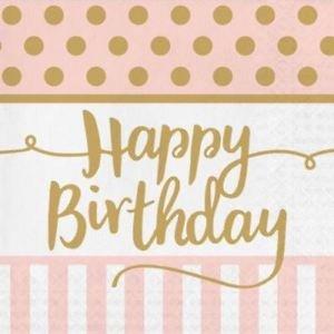 Ροζ Χαρτοπετσέτες Με Χρυσό Happy Birthday 20τμχ