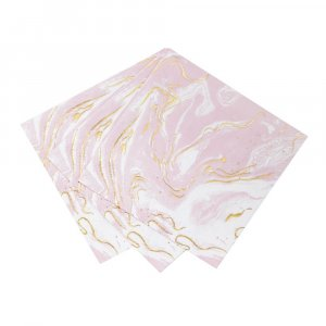 Pink gold foiled scripted marble beverage napkins 16/pcs