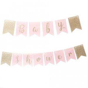 Ροζ & Χρυσό Γκλίτερ Γιρλάντα Baby Shower