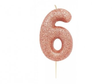 Rose Gold Glitter Cake Candle Number 6