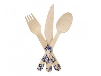 Wooden Cutlery Set with Blue Design (18pcs)