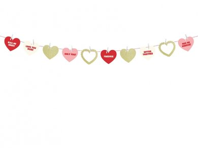 Sweet Love Γιρλάντα Με Καρδιές Με Γκλίτερ Και Μηνύματα