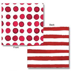 Elise Red Dots & Stripes Beverage Napkins (24pcs)