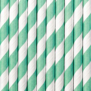 Turquoise stripes paper straws 10/pcs