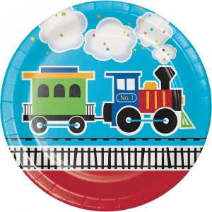 Little Train large paper plates (8pcs)