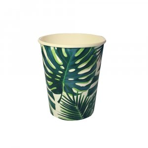 Tropical Leaves Paper Cups 8/pcs
