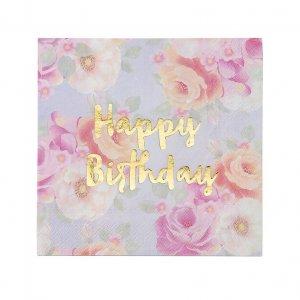 Truly Scrumptious Floral Χαρτοπετσέτες Για Γενέθλια 16τμχ