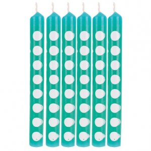 Teal Cake Candles with Dots 12/pcs