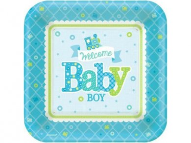 Welcome baby boy Small Paper Plates 8pcs