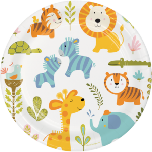 Happy Jungle Animals Large paper plates (8pcs)