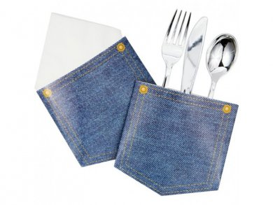 Blue Jeans Paper Silverware Holder (6pcs)